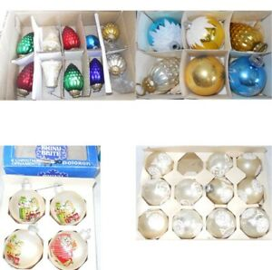 Vintage Christmas Ornaments Xmas 30 Glass Plastic Faceted Snow Flake Bell Cat