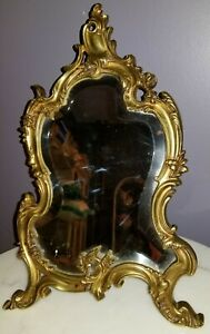 Antique Brass Ornate Mirror With Easel Stand Rococo Beveled Mirror