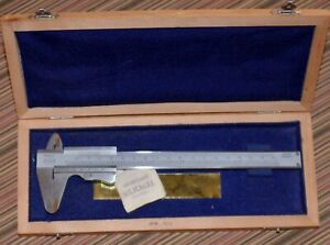 Vintage Helios Vernier Caliper With Blue Lined Wooden Case 9 Inch Free Shipping