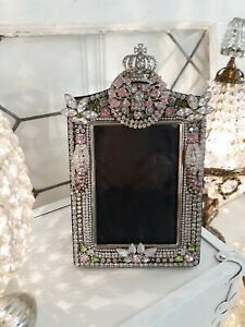 Vintage Rhinestone Jewelry Picture Frame Shabby Chic