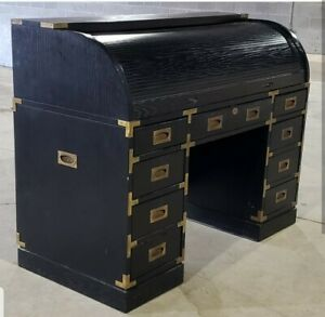 Vintage Ebonized Oak Campaign Desk Ask For A Shipping Quote