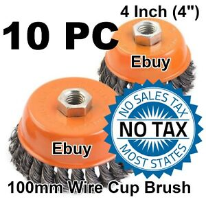 10 Wire Cup Brush Wheel 4 100mm For 4 1 2 115mm Angle Grinder Twist Knot