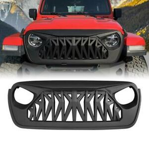 For 18 19 Jeep Wrangler Jl Grill Front Shark Grille Guard Matte Black Abs