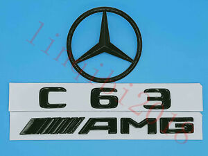 Gloss Black C63 Amg Trunk Logo Sticker Decal Emblem Badge Package For W205