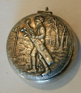 Antique Unger Brothers Sterling Golf Caddy Pattern Pill Box Match Compact Vesta