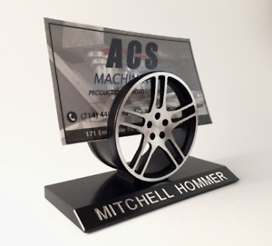 Custom Business Card Holder Personalized Automotive Styled Desktop Display