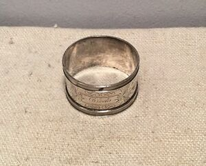 Antique Sterling Silver Bright Cut Napkin Ring 19 7g