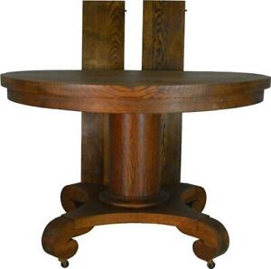 17652 Victorian Oak Empire Style Dining Table 44 Inch