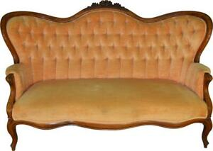 17669 Victorian Rose Carved Civil War Era Sofa