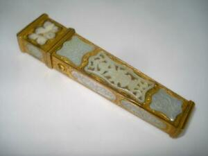 Fine Antique Gilt Ormolu Etui Case Mother Of Pearl Mounted 19th Cent France