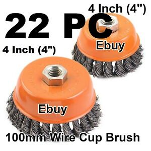 22 Wire Cup Brush Wheel 4 100mm For 4 1 2 115mm Angle Grinder Twist Knot
