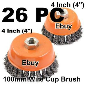 26 Wire Cup Brush Wheel 4 100mm For 4 1 2 115mm Angle Grinder Twist Knot