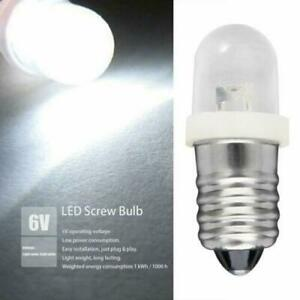 10x 6 Volt White Lamp Led Light Screw Mes E10 1447 Bulb For Torch Bike Bicycle