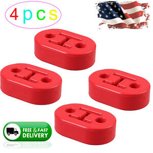 4x Car 11mm 2holes Rubber Exhaust Tail Pipe Mount Bracket Hanger Insulator Red