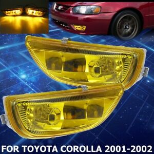Front Bumper Yellow Lens Fog Light Lamps W bulbs For Toyota Corolla 2001 2002