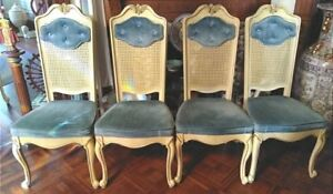 French Provincial Cane Back Blue Velvet Upholstered Ivory Painted Dining Chairs