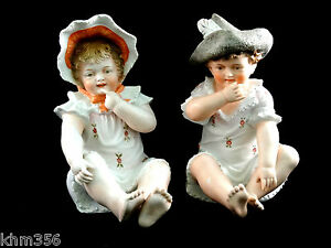 Bisque Porcelain Piano Baby Babies Little Boy Girl Figurine Germany
