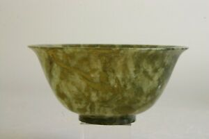 Antique Chinese Spinach Jade Bowl