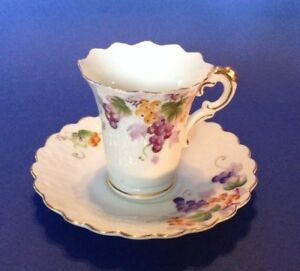 Wales China Fluted Demitasse Teacup And Saucer Hand Painted Grapes Japan