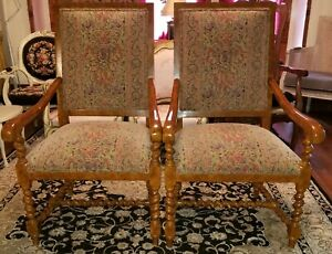 Pair Vintage Barley Twist Large Throne Arm Chairs Tapestry Upholstered