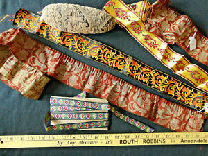 Antique Store Closeout Of Vtg Braid Trims Plus Tapestry Pin Cushion 6 Pces