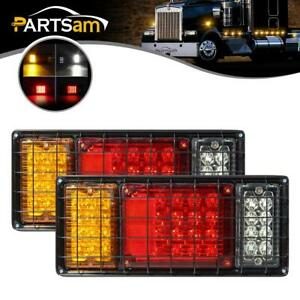 2pcs 40 Led Trailer Truck Stop Turn Tail Lights W iron Net Protection 4 Function
