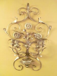 Large Vtg Italian Florentine Gilt Gilded Gold Tole And Wood Candle Sconce