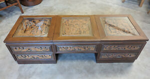 Vintage Japanese Carved Solid Mahogany Coffee Table Mid Century