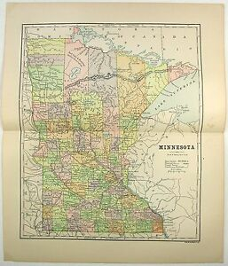 Original 1891 Map Of Minnesota By Hunt Eaton