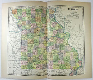 Original 1882 Map Of Missouri By Phillips Hunt