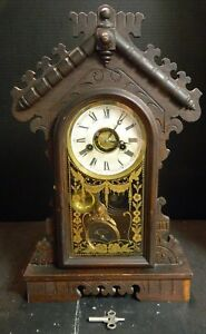 Antique En Welch Co Walnut Daisy Gingerbread Mantle Clock Reverse Painted Door