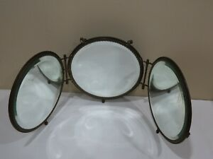 Antique Victorian Bronze Frame Trifold Travel Mirror
