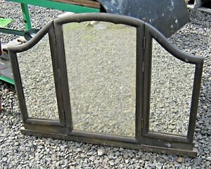 Antique Tri Fold Mirror With Original Bentwood Arched Frame Mirror 35 X 27