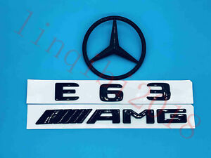 Gloss Black E63 Amg Trunk Logo Sticker Decal Emblem Badge Package For W212