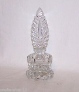 Antique Art Deco Pressed Cut Crystal Perfume Bottle Ground Feather Stopper