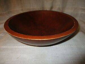 Vintage Antique Hand Turned Wood Dough Bowl Out Of Round Farmhouse 10 Diameter