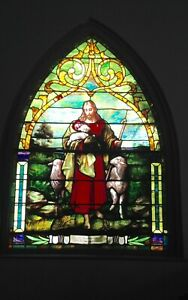Large Early 1900 S Jesus With Lambs Stained Glass Window