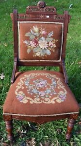 Victorian Eastlake Needlepoint Side Chair