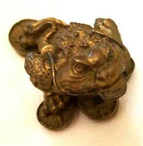 Chinese Brass Dragon Frog W Coin Statue Feng Shui Wealth Appx 2 5 Long Heavy