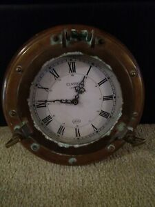 Vintage Ship S Time Brass Porthole Quartz Clock 12 Weight 10 Lbs
