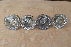 Vintage Lot Crystal Glass Door Knobs Brass Hardware