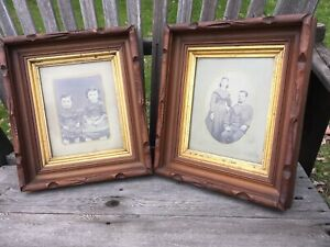 Pair Of Wonderful 19th Century American Walnut Eastlake Frames Ancestral Photos