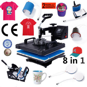 8 In 1 Heat Press Machine Transfer Sublimation Diy T shirt Hat Porcelain Cup Diy