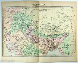Original Johnson S 1896 Map Of Northern India Antique
