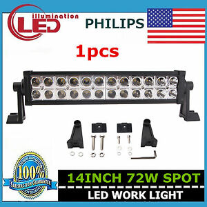 14 Inch 72w Philips Led Work Light Bar Spot Off Road Driving Lamp Ute Boat Truck