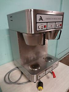 american Metal Ware Commercial Coffee Brewer W air Funnels Hot Water Spigot