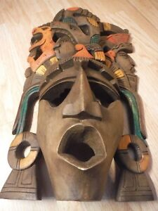 Vintage Carved Wooden Mask Aztec Mayan South American Columbia Wall Plaque