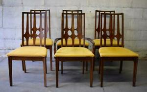Mid Century Modern Walnut Broyhill Brasilia Dining Chairs Set Of 6