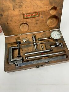 Starrett No 196 Dial Indicator With Attachments Wood Box Original