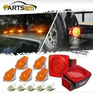 2x Red Stop Turn Tail Light 5x Amber Cab Marker Lights For Ford F 150 250 350